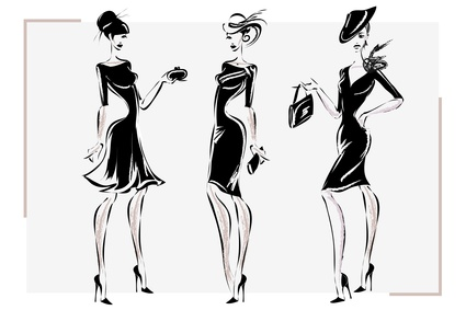 Black and white retro fashion woman model. Hand drawn vector illustration