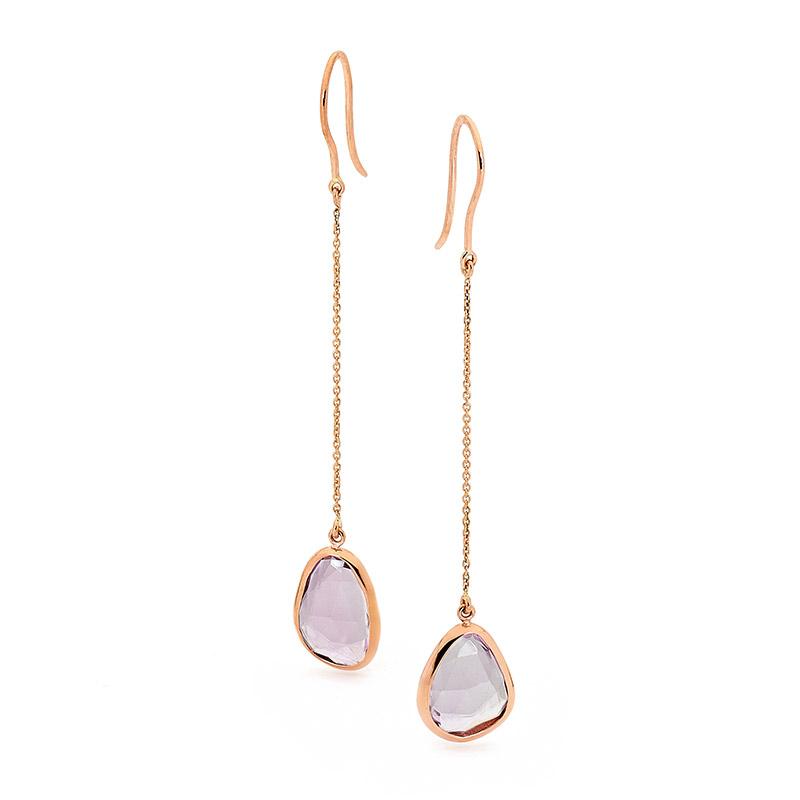 Pink Amethyst Rose Gold Earrings