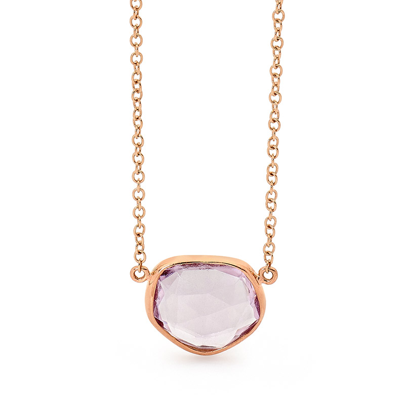 Rose Gold Pink Amethyst Necklace
