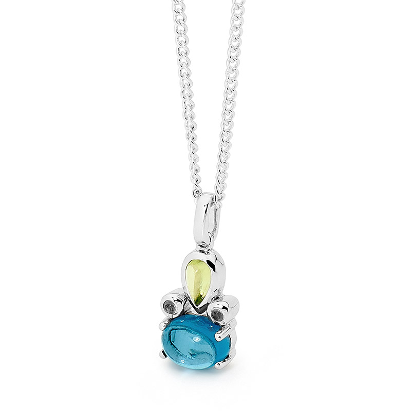 White gold blue topaz little pendant