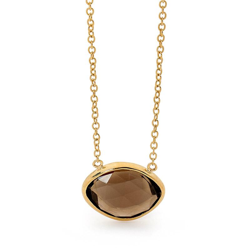 Smoky Quartz Gold Necklace