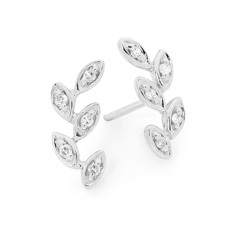 Mini Leaf Diamond Earrings