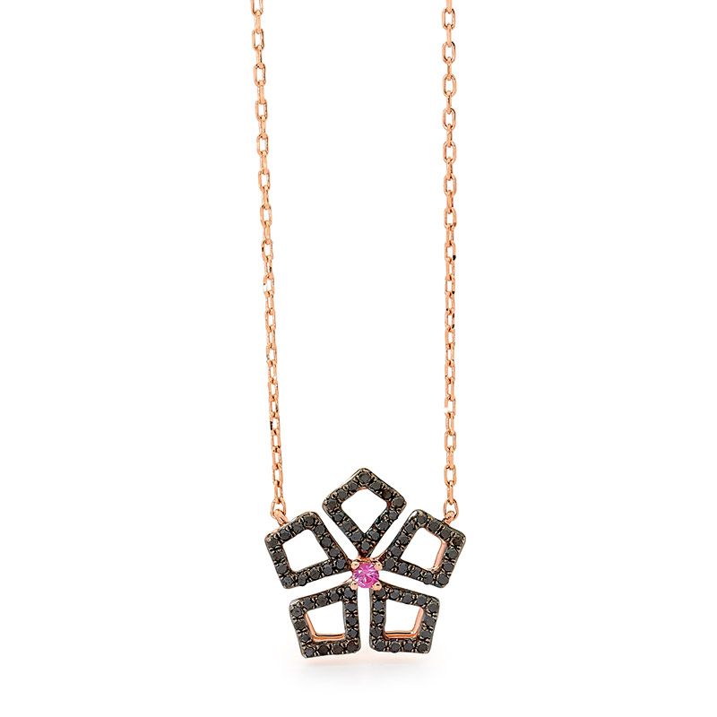 Black diamonds & Pink Sapphire Rose Gold Necklace.